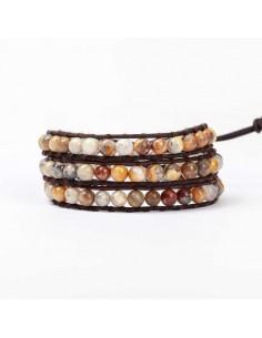 Bracelet agate marron multi-tours pierres naturelles 7 mm