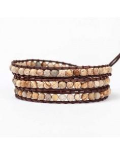 Bracelet jaspe multi-tours pierres naturelles 5 mm