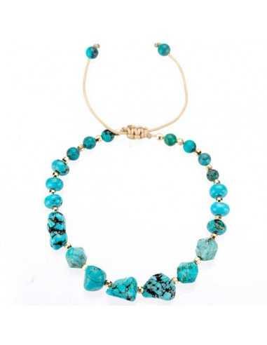 Bracelet ajustable turquoises véritables