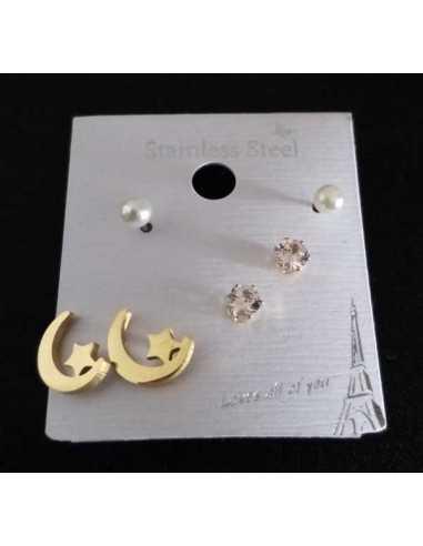 Lot de 3 paires de boucles d'oreilles acier 316L lune et puces