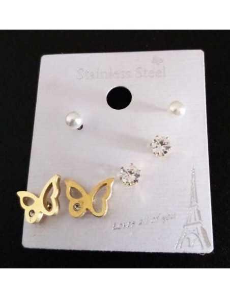 Lot de 3 paires de boucles d'oreilles acier 316L papillon et puces