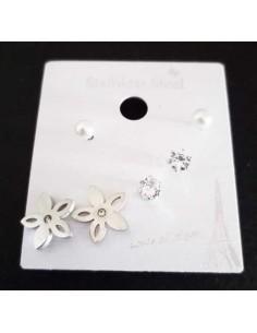 Lot de 3 paires de boucles d'oreilles acier 316L fleur et puces