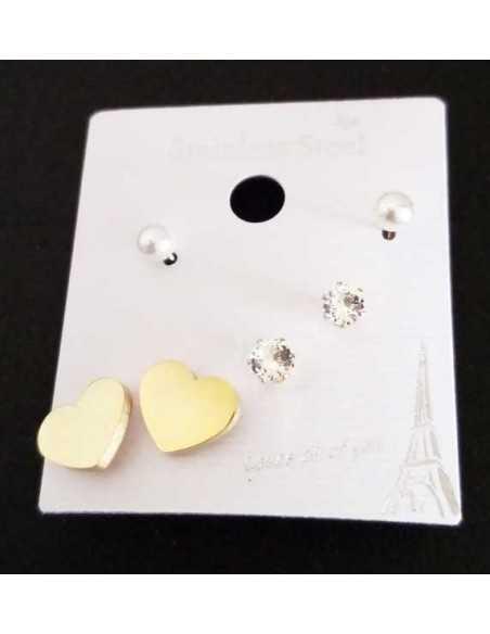Lot de 3 paires de boucles d'oreilles acier 316L coeur et puces