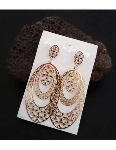 Boucles d'oreilles ovales pendantes motif bohème
