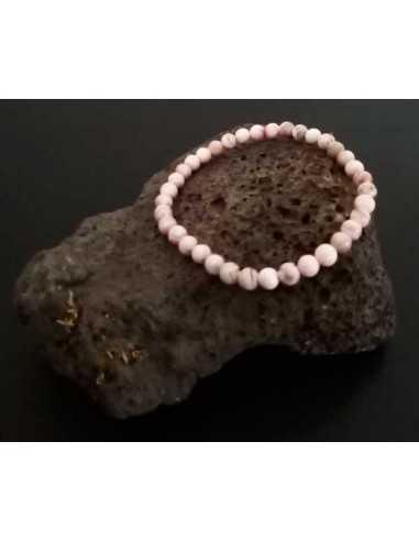 Bracelet jaspe rose pierres boules 6 mm