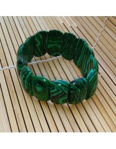 Bracelet ovale malachite pierre reconstituée