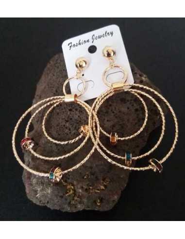 Créoles 3 anneaux texturés avec charms