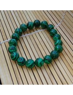 Bracelet perles rondes 1 cm malachite pierre reconstituée