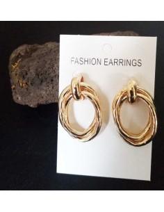 Boucles d'oreilles créoles ovales double anneaux design