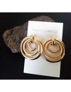 Créoles rondes 3 anneaux mobiles