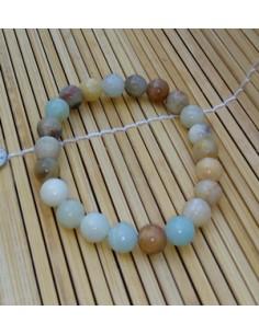 Bracelet Amazonite pierre naturelle perles rondes 1 cm