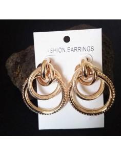 Créoles 3 anneaux texturés et pailletés enchevêtrés