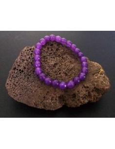 Bracelet agate violet pierres boules facettées 8 mm