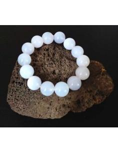 Bracelet homme pierre naturelle calcédoine boules 15 mm
