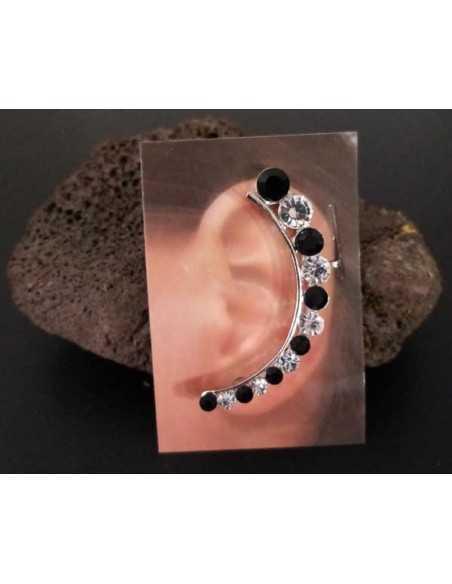 Bijoux d'oreilles motif perles bicolore strass dégradées noir/blanc