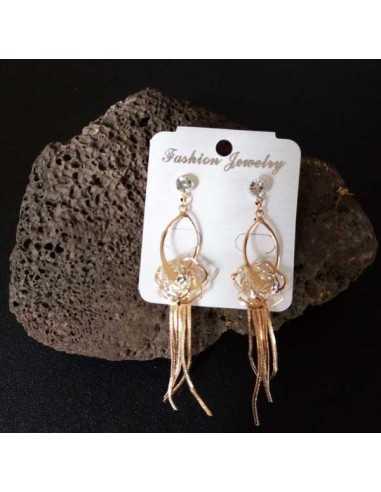 Boucles d'oreilles pendantes motif rose avec zirconium et chainettes