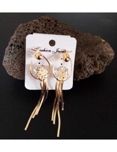 Boucles d'oreilles pendantes gouttes motif rose avec chainettes