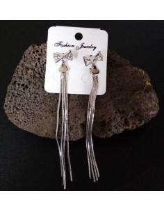 Boucles d'oreilles pendantes noeud zirconium et chainettes