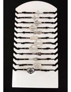 12 bracelets acier inoxydables avec présentoir.