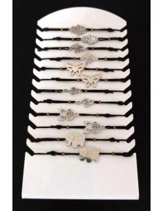 12 bracelets acier inoxydables fantaisie avec présentoir