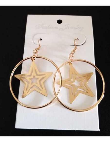 Boucles d'oreilles créoles pendentif étoile