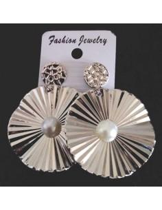 Boucles d'oreilles pendantes rondes avec perle