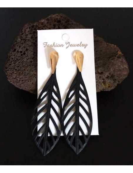 Boucles d'oreilles feuilles pendantes texturées
