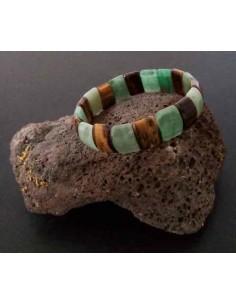 Bracelet oeil de tigre et aventurine pierres carrées