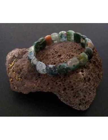 Bracelet agate indienne pierres rondes bombées
