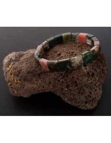 bracelet en pierre naturelle agate indienne carrées facettées