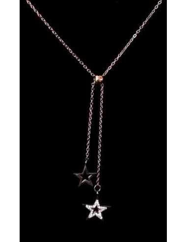 Collier acier gold rose pendentif double étoiles pendantes