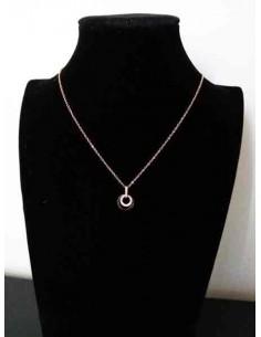 Collier acier pendentif anneaux sertis