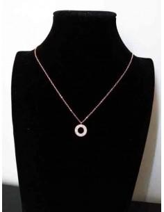 Collier acier gold rose pendentif anneau serti
