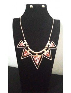Parure collier ethnique triangles et boucles d'oreilles