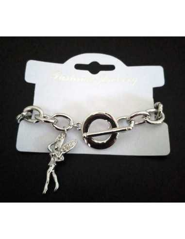 Bracelet grosse maille souple pendentif fée