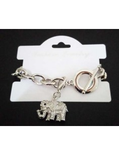 Bracelet grosse maille souple pendentif éléphant serti