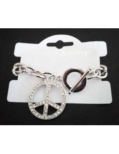 Bracelet grosse maille souple pendentif hippie serti