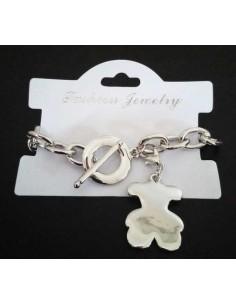 Bracelet grosse maille souple pendentif nounours