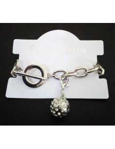 Bracelet grosse maille souple pendentif boule serti