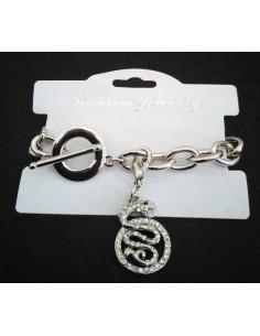 Bracelet grosse maille souple pendentif serpent serti