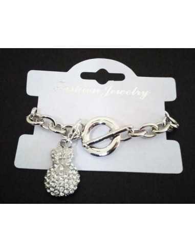 Bracelet grosse maille souple pendentif sac