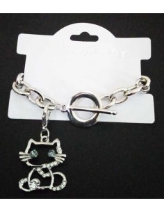 Bracelet grosse maille souple pendentif chat serti