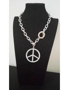 Collier grosse maille souple pendentif hippie serti