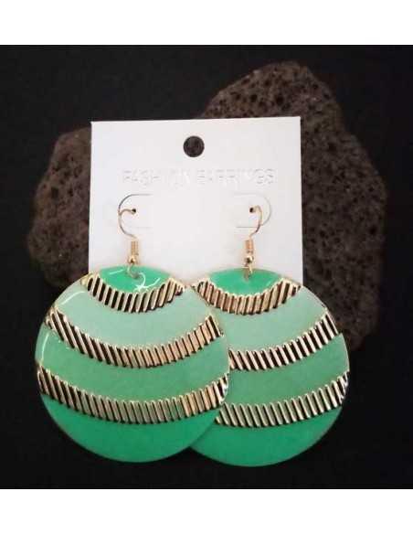 Boucles d'oreilles rondes couleur rayures or texturées