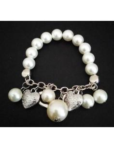 Bracelet perles et pampilles double coeurs