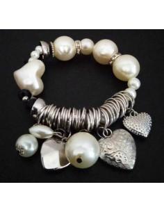 Bracelet perles et pampilles double coeurs et anneaux