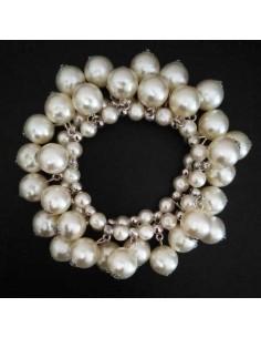 Bracelet perles blanches pampilles sur deux rangs