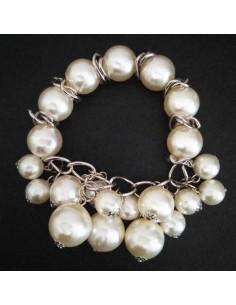 Bracelet perles blanches pampilles fantaisie et tendance