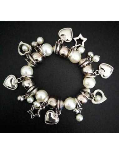 Bracelet perles blanches et argent pampilles étoiles et coeur