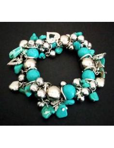 Bracelet pampilles coeurs et turquoises de synthèse